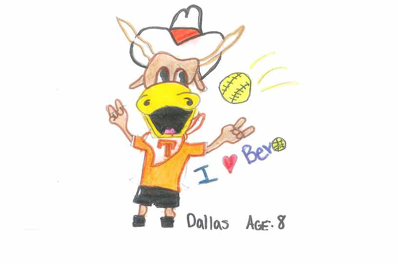 An original drawing of Hook 'Em at a Softball game from Dallas, age 8